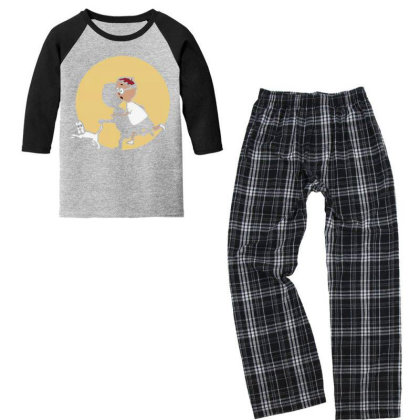 The Adventure Of Pug Youth 3/4 Sleeve Pajama Set Designed By Feniavey