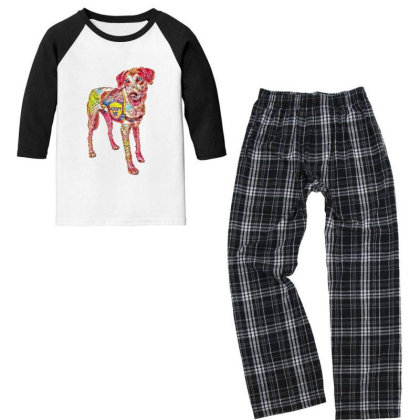 Large Rescue Dog Wearing Adop Youth 3/4 Sleeve Pajama Set Designed By Kemnabi
