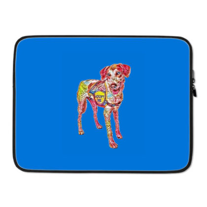 Large Rescue Dog Wearing Adop Laptop Sleeve Designed By Kemnabi