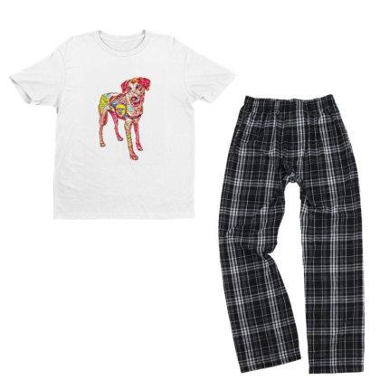 Large Rescue Dog Wearing Adop Youth T-shirt Pajama Set Designed By Kemnabi