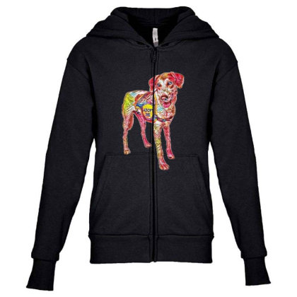 Large Rescue Dog Wearing Adop Youth Zipper Hoodie Designed By Kemnabi