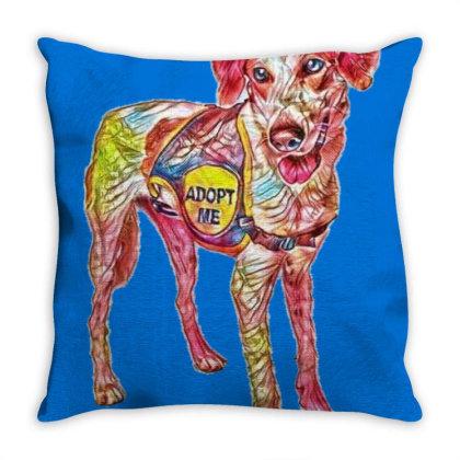 Large Rescue Dog Wearing Adop Throw Pillow Designed By Kemnabi