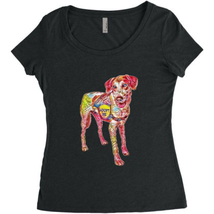 Large Rescue Dog Wearing Adop Women's Triblend Scoop T-shirt Designed By Kemnabi