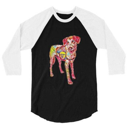 Large Rescue Dog Wearing Adop 3/4 Sleeve Shirt Designed By Kemnabi