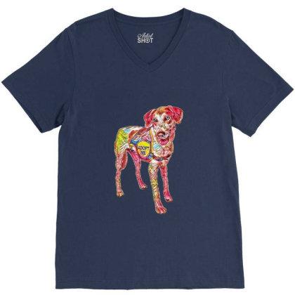 Large Rescue Dog Wearing Adop V-neck Tee Designed By Kemnabi
