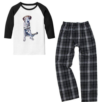 Lonely Large Crossbreed Dog W Youth 3/4 Sleeve Pajama Set Designed By Kemnabi