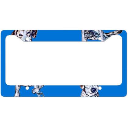 Lonely Large Crossbreed Dog W License Plate Frame Designed By Kemnabi