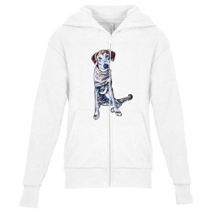 Lonely Large Crossbreed Dog W Youth Zipper Hoodie Designed By Kemnabi