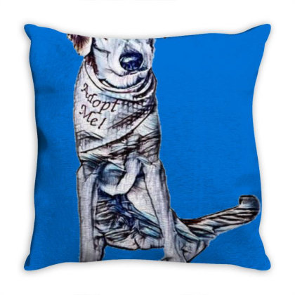 Lonely Large Crossbreed Dog W Throw Pillow Designed By Kemnabi