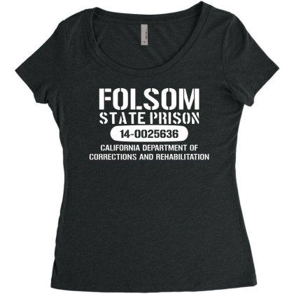 Folsom Prison T Shirt   Funny T Shirt Retro Country Fashion Cash Blues Women's Triblend Scoop T-shirt Designed By G3ry