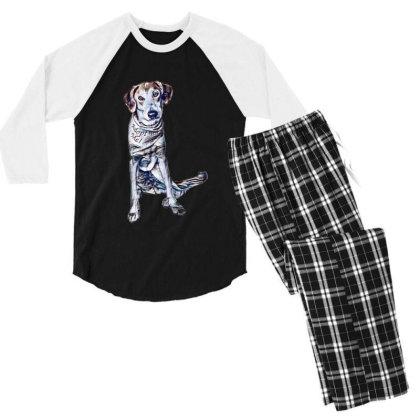 Lonely Large Crossbreed Dog W Men's 3/4 Sleeve Pajama Set Designed By Kemnabi
