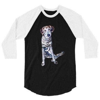 Lonely Large Crossbreed Dog W 3/4 Sleeve Shirt Designed By Kemnabi