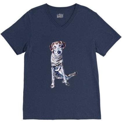 Lonely Large Crossbreed Dog W V-neck Tee Designed By Kemnabi