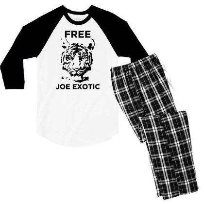 Free Joe Exotic Tiger King Funny T Shirt Mens For President Libertaria Men's 3/4 Sleeve Pajama Set Designed By G3ry