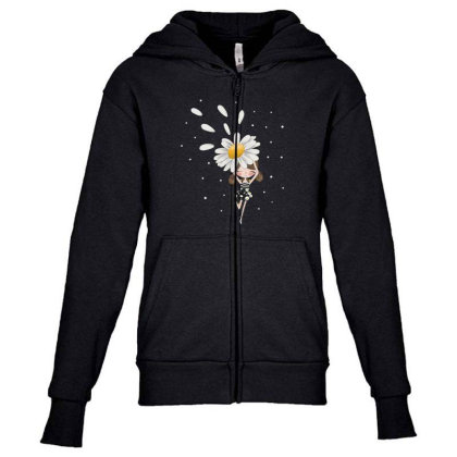 Flower Youth Zipper Hoodie Designed By Disgus_thing