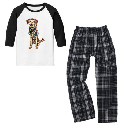 Happy Crossbreed Dog Wearing Youth 3/4 Sleeve Pajama Set Designed By Kemnabi