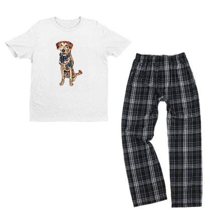 Happy Crossbreed Dog Wearing Youth T-shirt Pajama Set Designed By Kemnabi