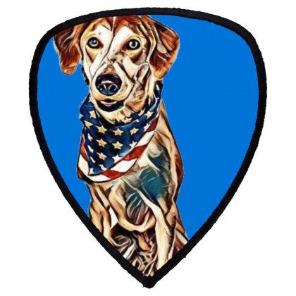 Happy Crossbreed Dog Wearing Shield S Patch Designed By Kemnabi