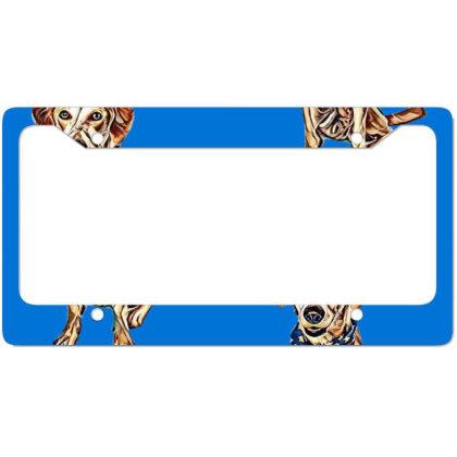 Happy Crossbreed Dog Wearing License Plate Frame Designed By Kemnabi