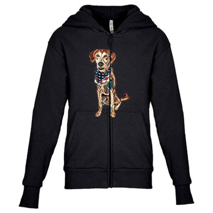 Happy Crossbreed Dog Wearing Youth Zipper Hoodie Designed By Kemnabi