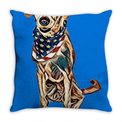 Happy Crossbreed Dog Wearing Throw Pillow Designed By Kemnabi