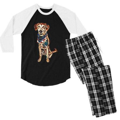 Happy Crossbreed Dog Wearing Men's 3/4 Sleeve Pajama Set Designed By Kemnabi