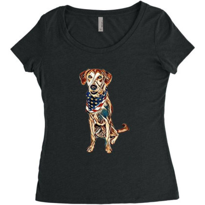 Happy Crossbreed Dog Wearing Women's Triblend Scoop T-shirt Designed By Kemnabi