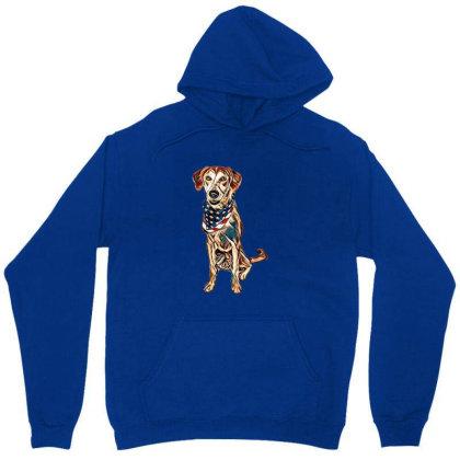 Happy Crossbreed Dog Wearing Unisex Hoodie Designed By Kemnabi