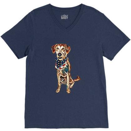 Happy Crossbreed Dog Wearing V-neck Tee Designed By Kemnabi