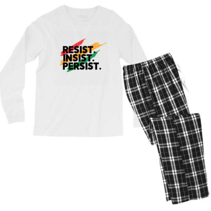 Resist Insist Persist Men's Long Sleeve Pajama Set Designed By Qudkin