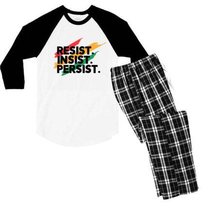 Resist Insist Persist Men's 3/4 Sleeve Pajama Set Designed By Qudkin