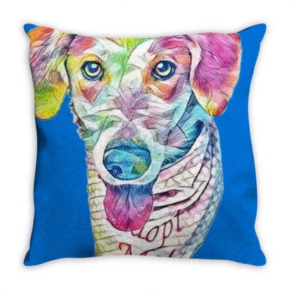 Closeup Image Of Rescue Dog W Throw Pillow Designed By Kemnabi