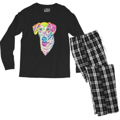 Closeup Image Of Rescue Dog W Men's Long Sleeve Pajama Set Designed By Kemnabi