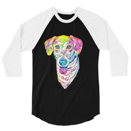 Closeup Image Of Rescue Dog W 3/4 Sleeve Shirt Designed By Kemnabi