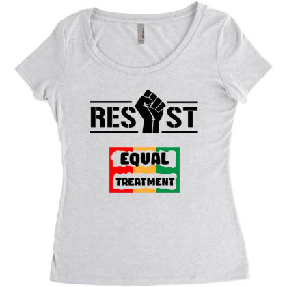 Resist Equal Treatment Women's Triblend Scoop T-shirt Designed By Qudkin