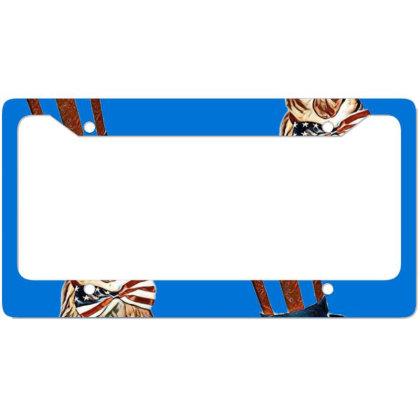 Funny Dog Wearing American Fl License Plate Frame Designed By Kemnabi