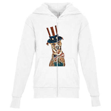 Funny Dog Wearing American Fl Youth Zipper Hoodie Designed By Kemnabi