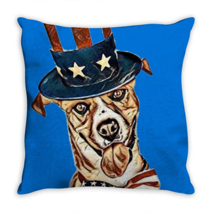 Funny Dog Wearing American Fl Throw Pillow Designed By Kemnabi