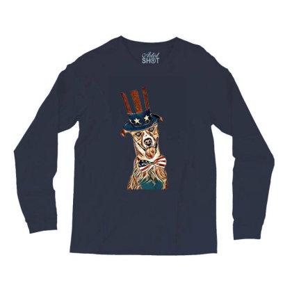 Funny Dog Wearing American Fl Long Sleeve Shirts Designed By Kemnabi