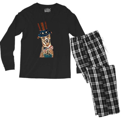 Funny Dog Wearing American Fl Men's Long Sleeve Pajama Set Designed By Kemnabi
