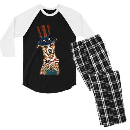Funny Dog Wearing American Fl Men's 3/4 Sleeve Pajama Set Designed By Kemnabi
