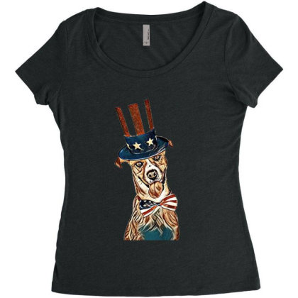 Funny Dog Wearing American Fl Women's Triblend Scoop T-shirt Designed By Kemnabi