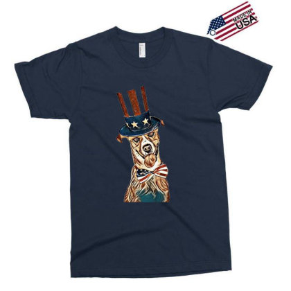 Funny Dog Wearing American Fl Exclusive T-shirt Designed By Kemnabi