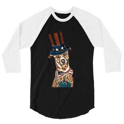 Funny Dog Wearing American Fl 3/4 Sleeve Shirt Designed By Kemnabi