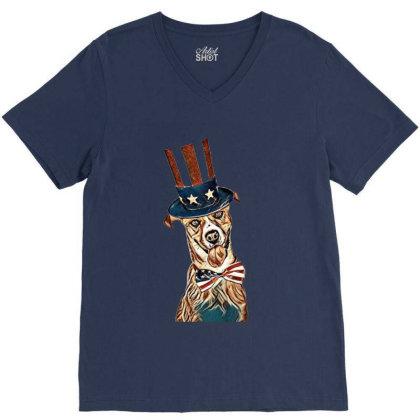 Funny Dog Wearing American Fl V-neck Tee Designed By Kemnabi