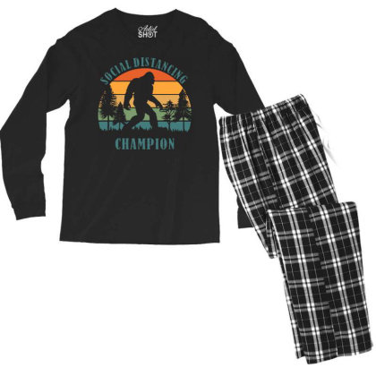 Funny Bigfoot Vintage Social Distancing Champion Long Sleeve T Shirt C Men's Long Sleeve Pajama Set Designed By G3ry