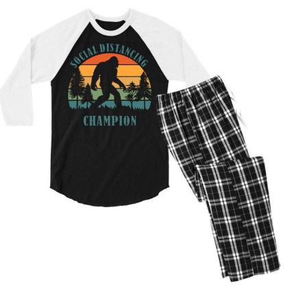 Funny Bigfoot Vintage Social Distancing Champion Long Sleeve T Shirt C Men's 3/4 Sleeve Pajama Set Designed By G3ry