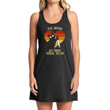 Funny Cat In Heart You Inspire Me My Inner Serial Killer Men's Long Sl Tank Dress Designed By G3ry