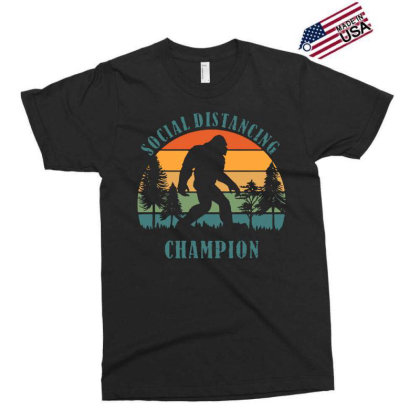 Funny Bigfoot Vintage Social Distancing Champion Long Sleeve T Shirt C Exclusive T-shirt Designed By G3ry