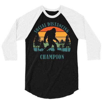 Funny Bigfoot Vintage Social Distancing Champion Long Sleeve T Shirt C 3/4 Sleeve Shirt Designed By G3ry